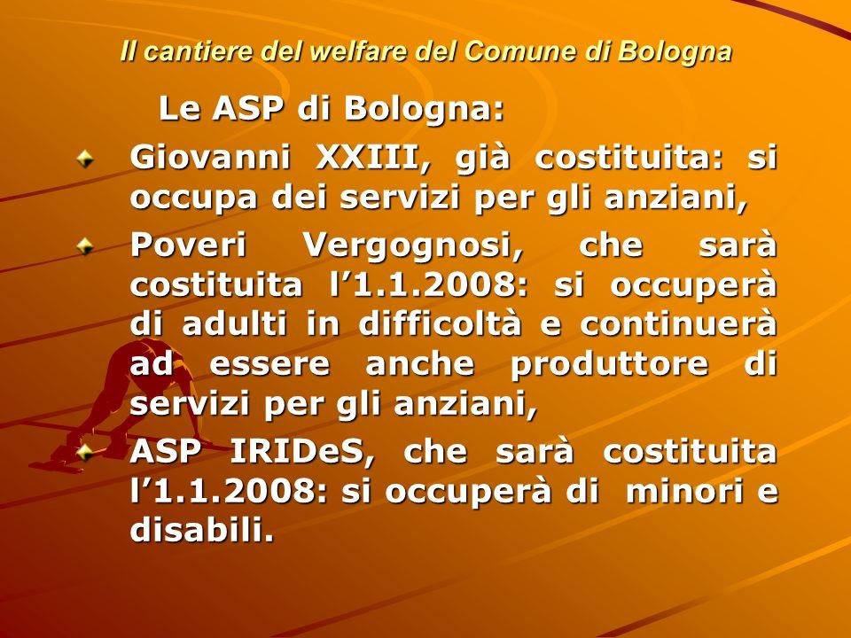 Il cantiere del welfare del Comune di Bologna Le ASP di Bologna: Giovanni XXIII, già costituita: si occupa dei servizi per gli anziani, Poveri Vergogn