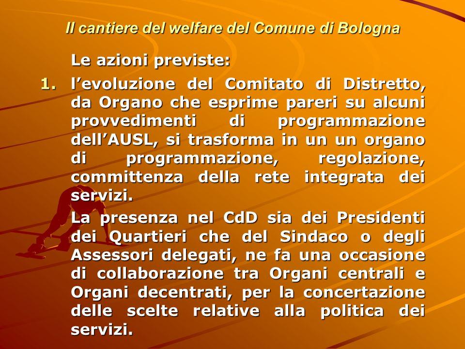 Il cantiere del welfare del Comune di Bologna Le azioni previste: 1.levoluzione del Comitato di Distretto, da Organo che esprime pareri su alcuni prov