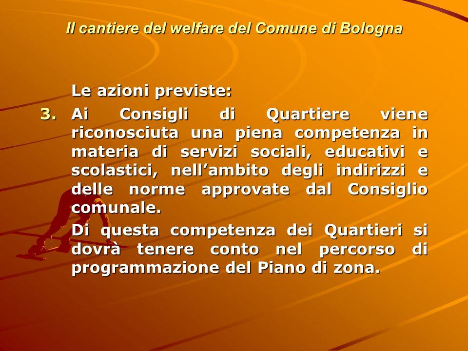 Il cantiere del welfare del Comune di Bologna Le azioni previste: 3.Ai Consigli di Quartiere viene riconosciuta una piena competenza in materia di ser