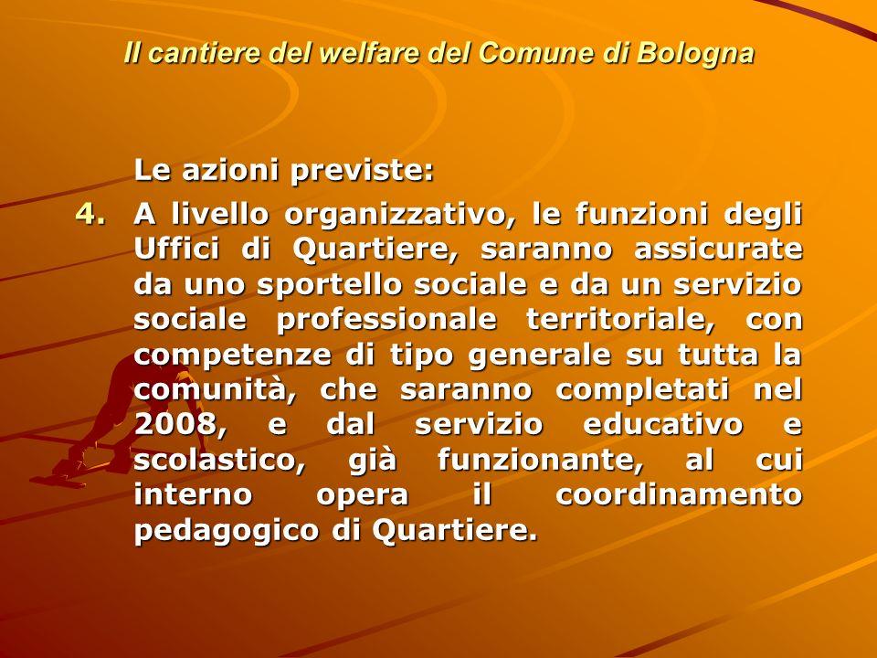Il cantiere del welfare del Comune di Bologna Le azioni previste: 4.A livello organizzativo, le funzioni degli Uffici di Quartiere, saranno assicurate