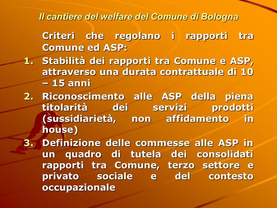 Il cantiere del welfare del Comune di Bologna Criteri che regolano i rapporti tra Comune ed ASP: 1.Stabilità dei rapporti tra Comune e ASP, attraverso