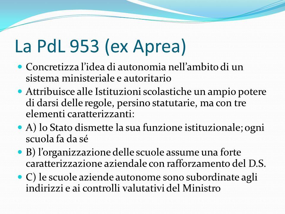 La PdL 953 (ex Aprea) Concretizza lidea di autonomia nellambito di un sistema ministeriale e autoritario Attribuisce alle Istituzioni scolastiche un a