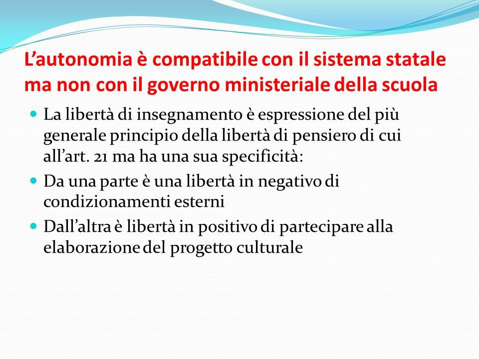Lautonomia è compatibile con il sistema statale ma non con il governo ministeriale della scuola La libertà di insegnamento è espressione del più gener