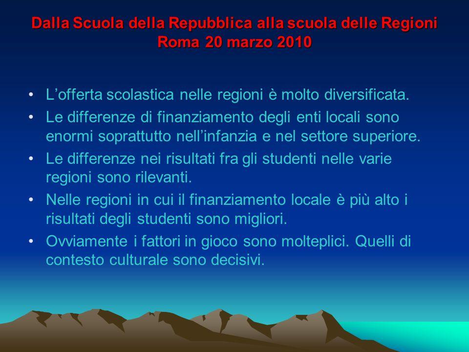Dalla Scuola della Repubblica alla scuola delle Regioni Roma 20 marzo 2010 Lofferta scolastica nelle regioni è molto diversificata.