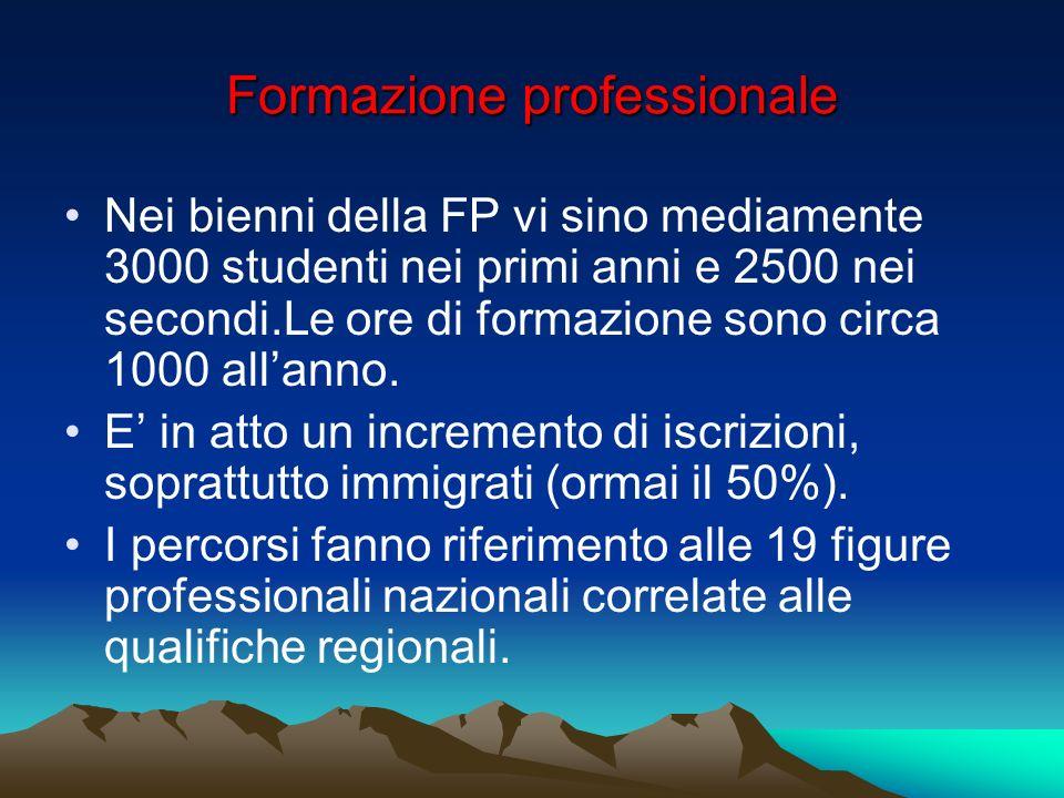 Formazione professionale Nei bienni della FP vi sino mediamente 3000 studenti nei primi anni e 2500 nei secondi.Le ore di formazione sono circa 1000 allanno.