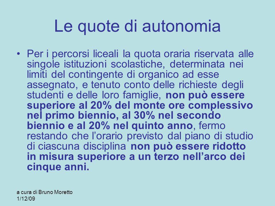 a cura di Bruno Moretto 1/12/09 Le quote di autonomia Per i percorsi liceali la quota oraria riservata alle singole istituzioni scolastiche, determina
