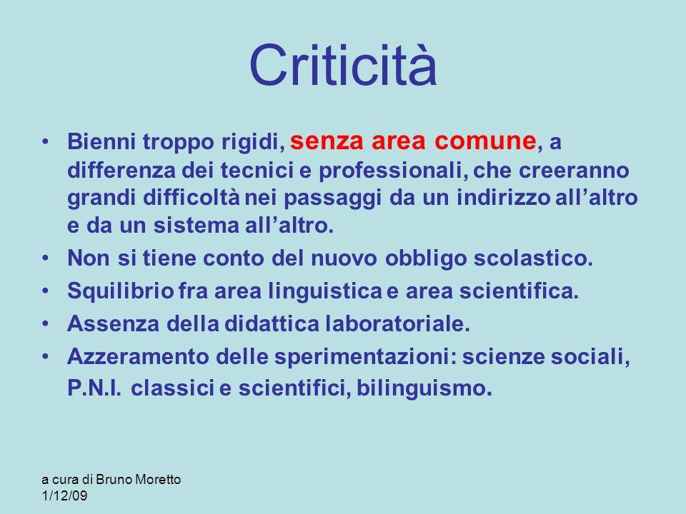 a cura di Bruno Moretto 1/12/09 Criticità Bienni troppo rigidi, senza area comune, a differenza dei tecnici e professionali, che creeranno grandi diff