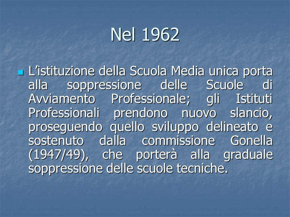 Nel 1962 Listituzione della Scuola Media unica porta alla soppressione delle Scuole di Avviamento Professionale; gli Istituti Professionali prendono n