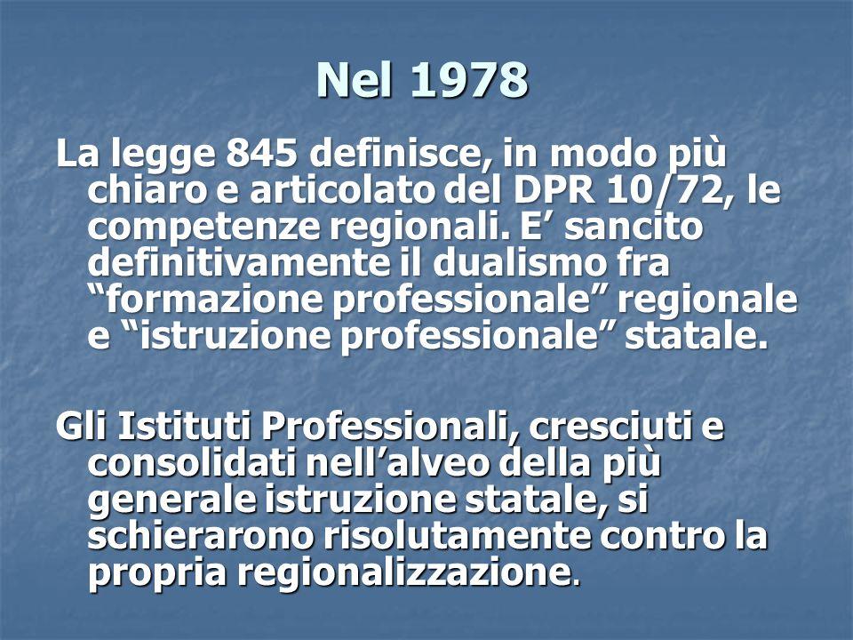 Nel 1978 La legge 845 definisce, in modo più chiaro e articolato del DPR 10/72, le competenze regionali. E sancito definitivamente il dualismo fra for