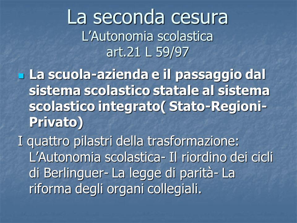 La seconda cesura LAutonomia scolastica art.21 L 59/97 La scuola-azienda e il passaggio dal sistema scolastico statale al sistema scolastico integrato
