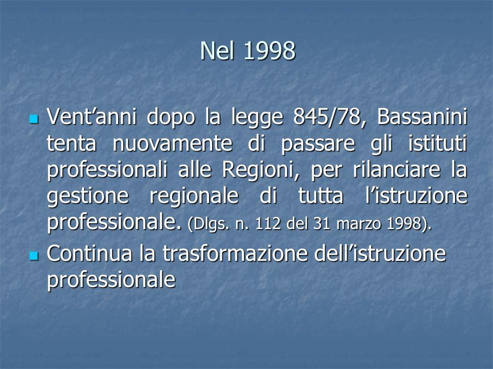 Nel 1998 Ventanni dopo la legge 845/78, Bassanini tenta nuovamente di passare gli istituti professionali alle Regioni, per rilanciare la gestione regi