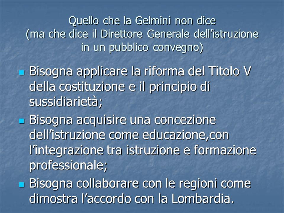 Quello che la Gelmini non dice (ma che dice il Direttore Generale dellistruzione in un pubblico convegno) Bisogna applicare la riforma del Titolo V de
