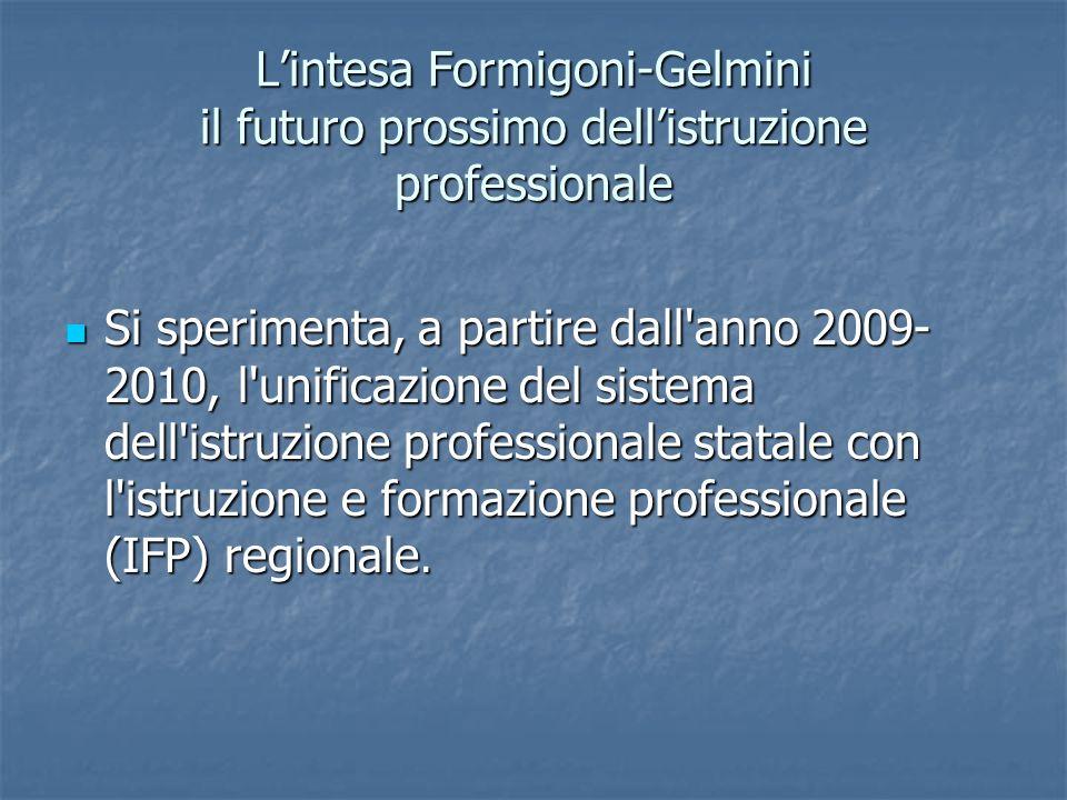 Lintesa Formigoni-Gelmini il futuro prossimo dellistruzione professionale Si sperimenta, a partire dall'anno 2009- 2010, l'unificazione del sistema de