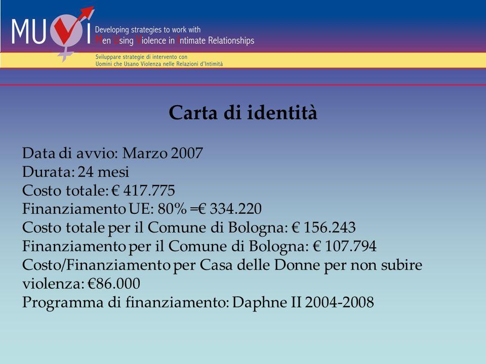 Carta di identità Data di avvio: Marzo 2007 Durata: 24 mesi Costo totale: 417.775 Finanziamento UE: 80% = 334.220 Costo totale per il Comune di Bologna: 156.243 Finanziamento per il Comune di Bologna: 107.794 Costo/Finanziamento per Casa delle Donne per non subire violenza: 86.000 Programma di finanziamento: Daphne II 2004-2008