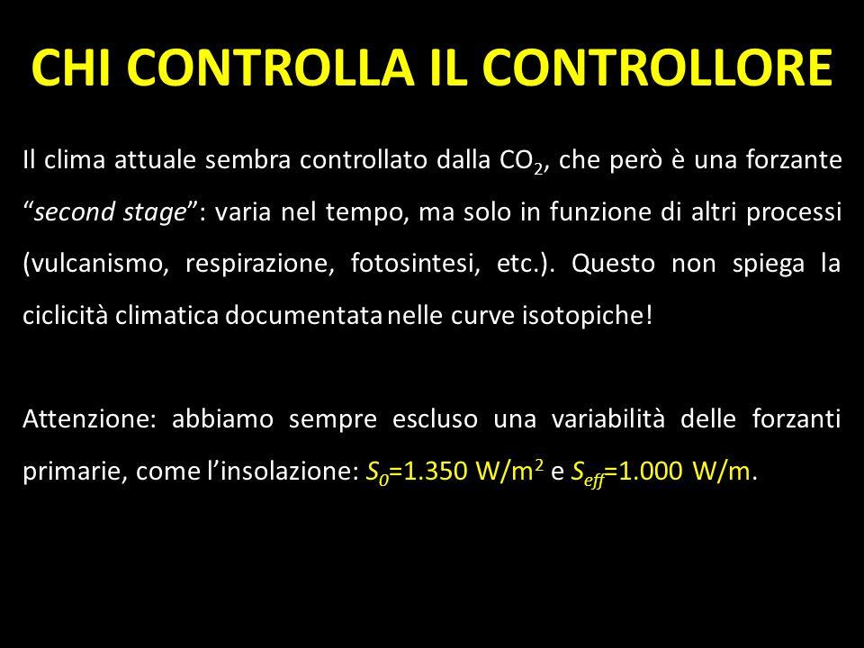 CHI CONTROLLA IL CONTROLLORE Il clima attuale sembra controllato dalla CO 2, che però è una forzantesecond stage: varia nel tempo, ma solo in funzione