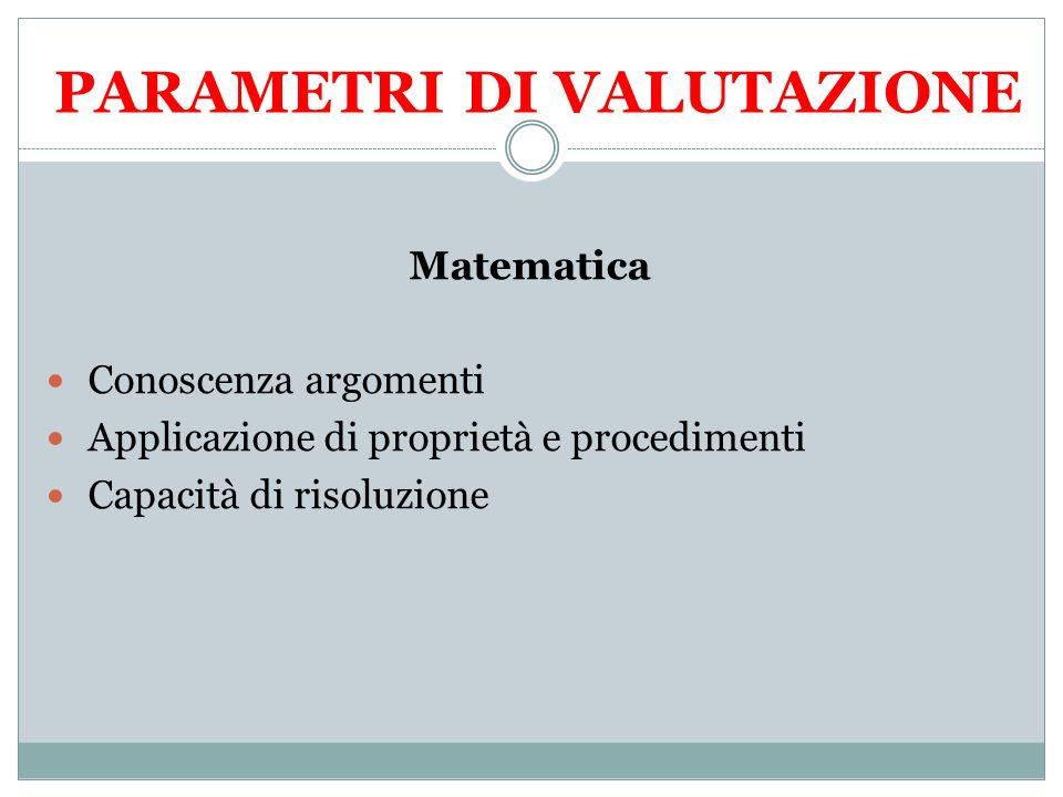 PARAMETRI DI VALUTAZIONE Matematica Conoscenza argomenti Applicazione di proprietà e procedimenti Capacità di risoluzione