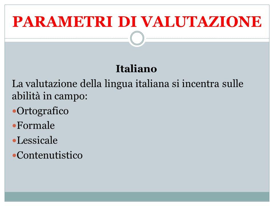 PARAMETRI DI VALUTAZIONE Italiano La valutazione della lingua italiana si incentra sulle abilità in campo: Ortografico Formale Lessicale Contenutistic