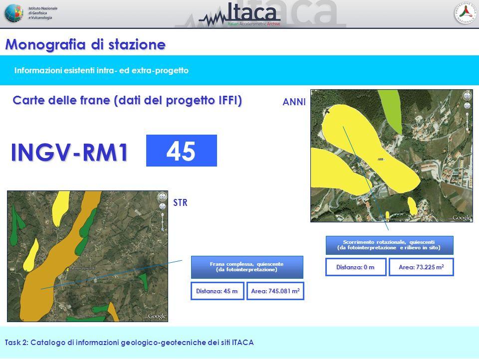 Informazioni esistenti intra- ed extra-progetto Monografia di stazione Task 2: Catalogo di informazioni geologico-geotecniche dei siti ITACA Carte del