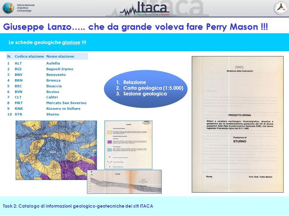 Le schede geologiche gloriose !!! Giuseppe Lanzo….. che da grande voleva fare Perry Mason !!! Task 2: Catalogo di informazioni geologico-geotecniche d