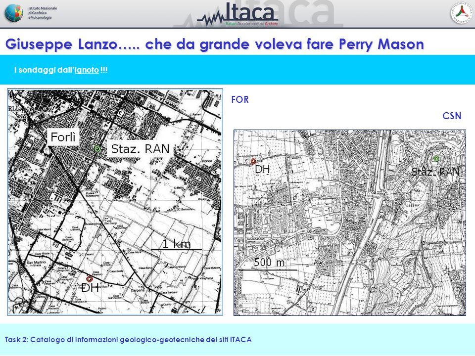 I sondaggi dallignoto !!! Giuseppe Lanzo….. che da grande voleva fare Perry Mason Task 2: Catalogo di informazioni geologico-geotecniche dei siti ITAC
