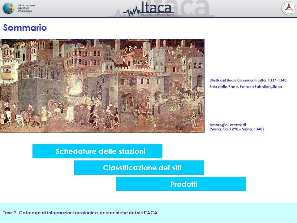 Schedature delle stazioni Sommario Task 2: Catalogo di informazioni geologico-geotecniche dei siti ITACA Classificazione dei siti Prodotti Effetti del
