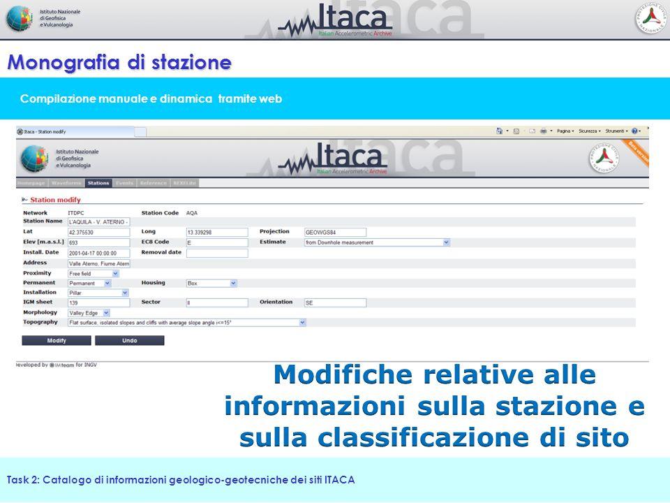 Compilazione manuale e dinamica tramite web Monografia di stazione Task 2: Catalogo di informazioni geologico-geotecniche dei siti ITACA