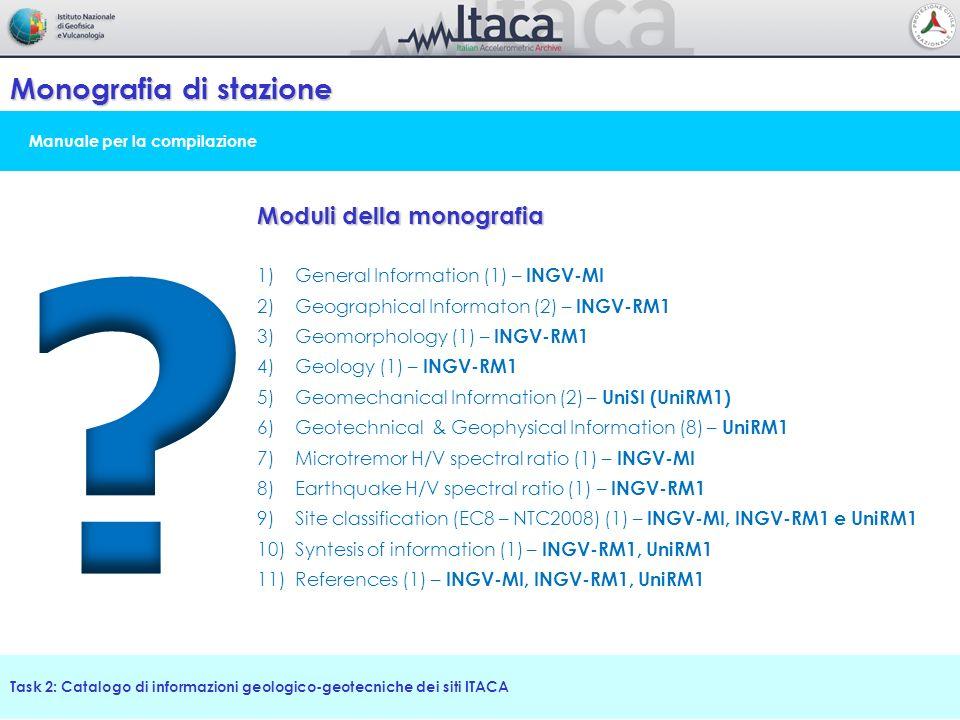 Manuale per la compilazione Monografia di stazione Task 2: Catalogo di informazioni geologico-geotecniche dei siti ITACA Moduli della monografia 1)Gen