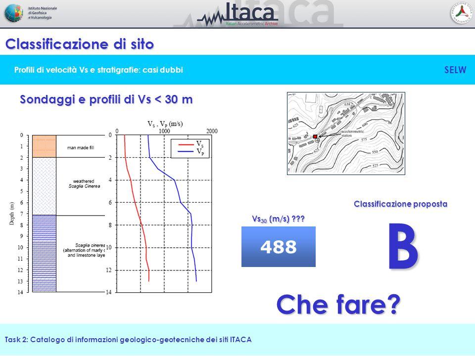 Profili di velocità Vs e stratigrafie: casi dubbi Classificazione di sito Task 2: Catalogo di informazioni geologico-geotecniche dei siti ITACA Sondag