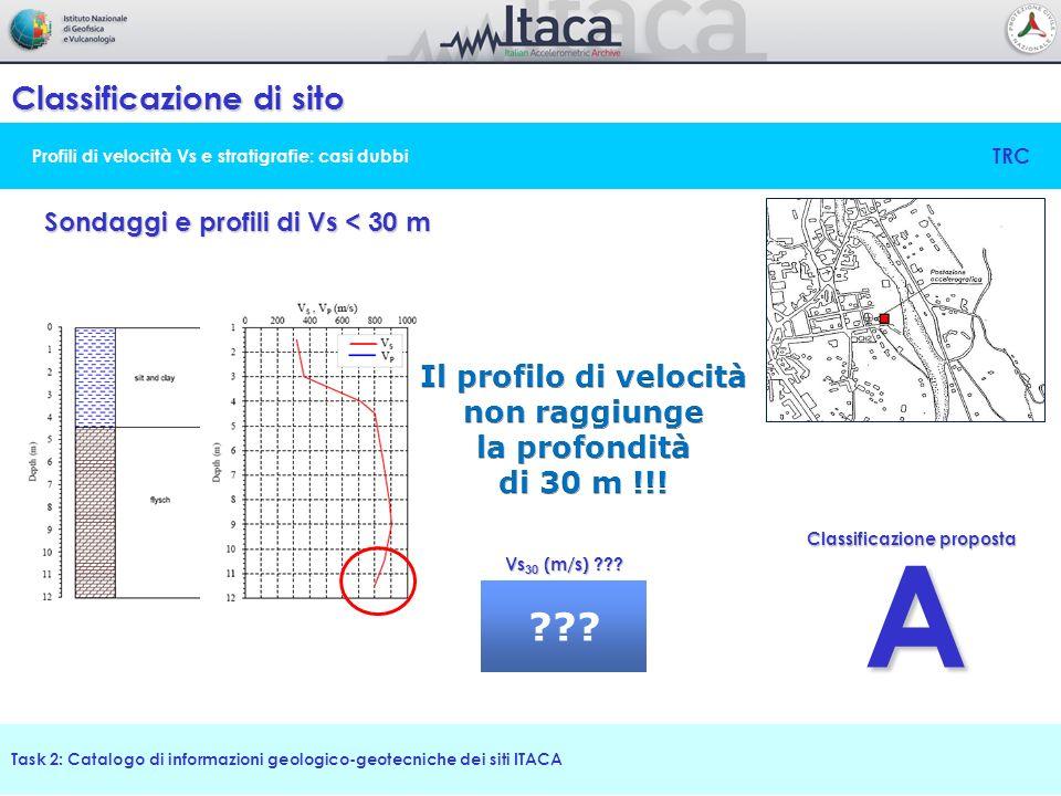 Profili di velocità Vs e stratigrafie: casi dubbi Classificazione di sito Task 2: Catalogo di informazioni geologico-geotecniche dei siti ITACA Classi