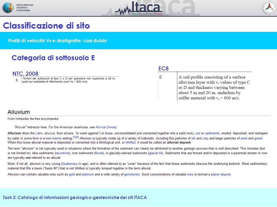 Profili di velocità Vs e stratigrafie: casi dubbi Classificazione di sito Task 2: Catalogo di informazioni geologico-geotecniche dei siti ITACA Catego