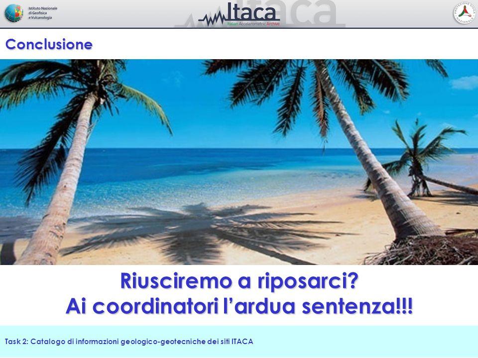 Task 2: Catalogo di informazioni geologico-geotecniche dei siti ITACA Conclusione Riusciremo a riposarci? Ai coordinatori lardua sentenza!!!