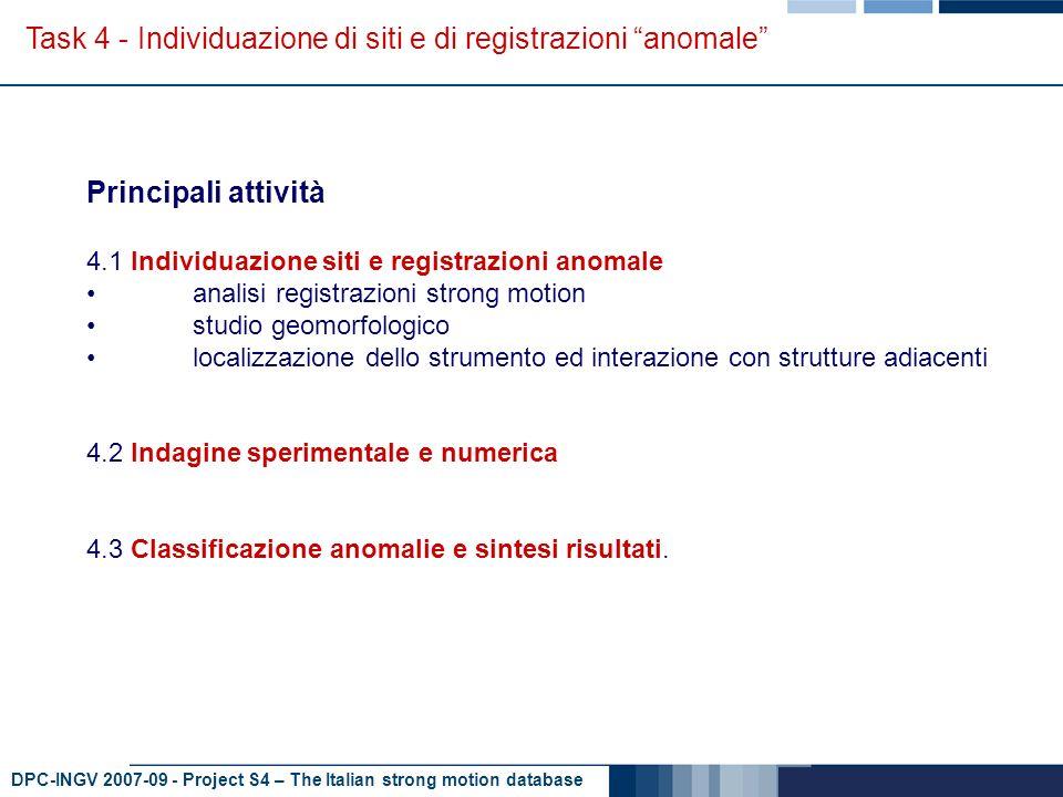 DPC-INGV 2007-09 - Project S4 – The Italian strong motion database Task 4 - Individuazione di siti e di registrazioni anomale Analisi registrazioni R PGA registrazioni provenienti da siti diversi e stesso terremoto terremoto anomalo registrazioni provenienti da terremoti diversi ma stesso sitosito anomalo