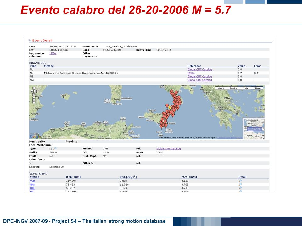 DPC-INGV 2007-09 - Project S4 – The Italian strong motion database Evento calabro del 26-20-2006 M = 5.7