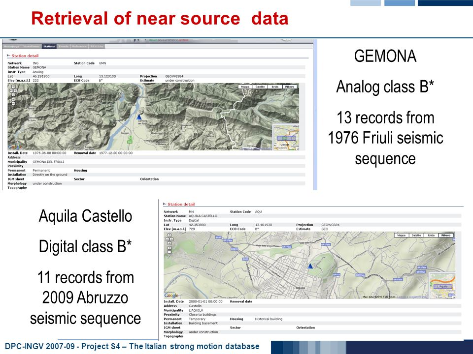 DPC-INGV 2007-09 - Project S4 – The Italian strong motion database Retrieval of near source data GEMONA Analog class B* 13 records from 1976 Friuli seismic sequence Aquila Castello Digital class B* 11 records from 2009 Abruzzo seismic sequence
