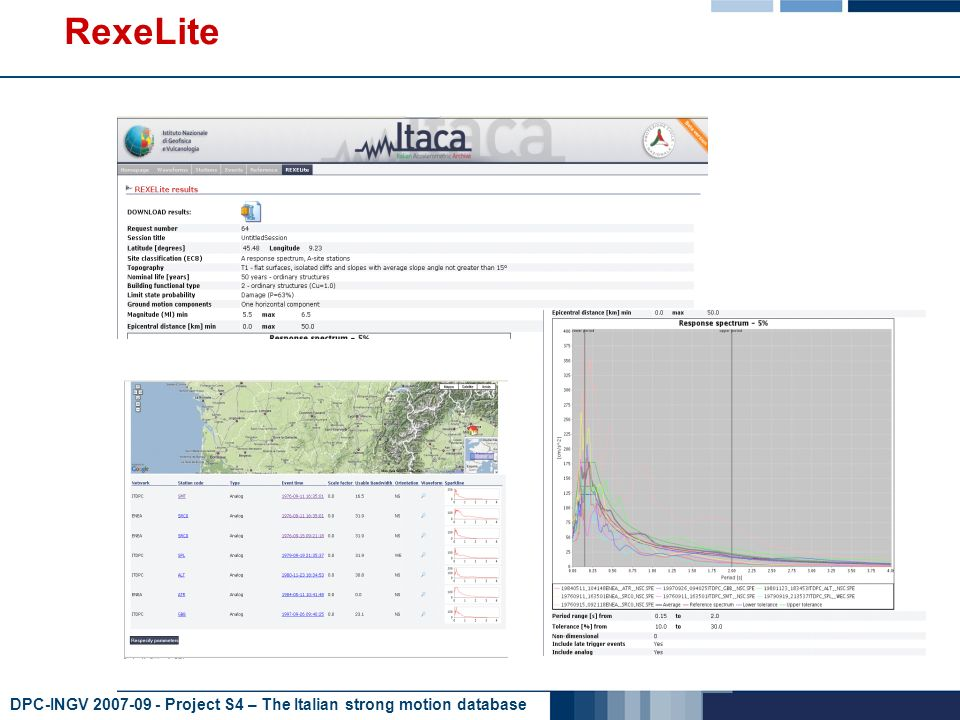 DPC-INGV 2007-09 - Project S4 – The Italian strong motion database RexeLite