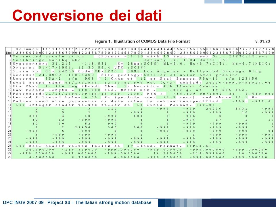 DPC-INGV 2007-09 - Project S4 – The Italian strong motion database Conversione dei dati