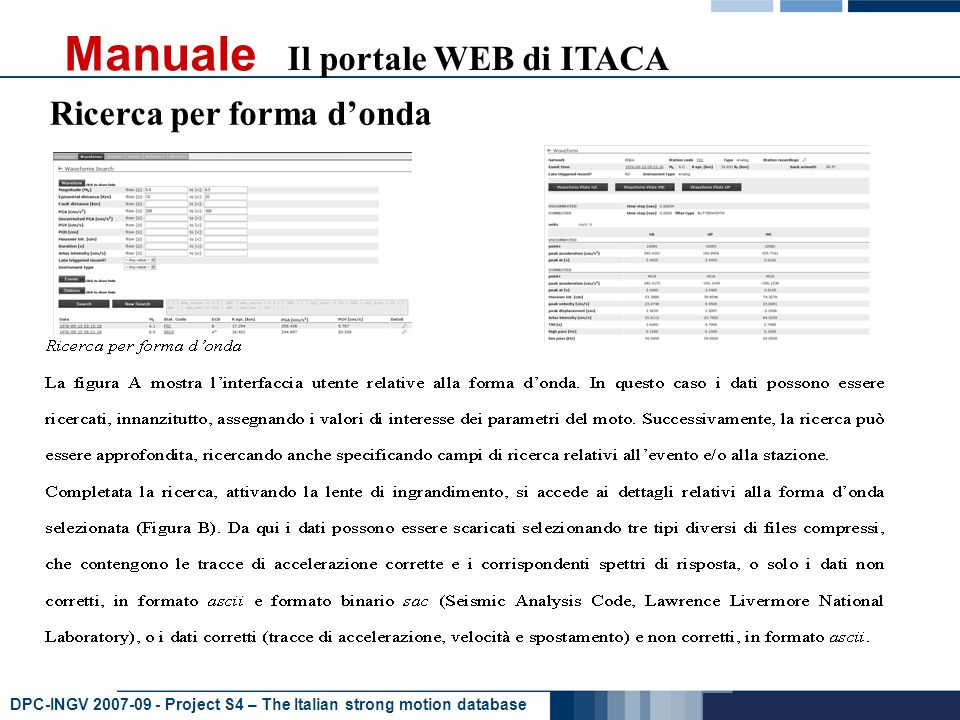 DPC-INGV Project S4 – The Italian strong motion database Manuale Il portale WEB di ITACA Ricerca per forma donda
