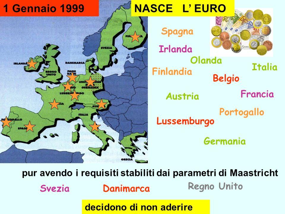pur avendo i requisiti stabiliti dai parametri di Maastricht Irlanda Austria Lussemburgo Olanda Belgio Germania Italia Francia Spagna Portogallo Finla