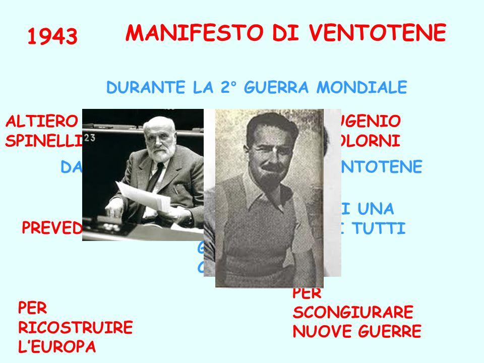 1943 MANIFESTO DI VENTOTENE ERNESTO ROSSI DAL CONFINO NELLISOLA DI VENTOTENE DURANTE LA 2° GUERRA MONDIALE LA CREAZIONE DI UNA FEDERAZIONE DI TUTTI GL