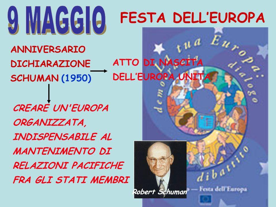 FESTA DELLEUROPA CREARE UN'EUROPA ORGANIZZATA, INDISPENSABILE AL MANTENIMENTO DI RELAZIONI PACIFICHE FRA GLI STATI MEMBRI ANNIVERSARIO DICHIARAZIONE S