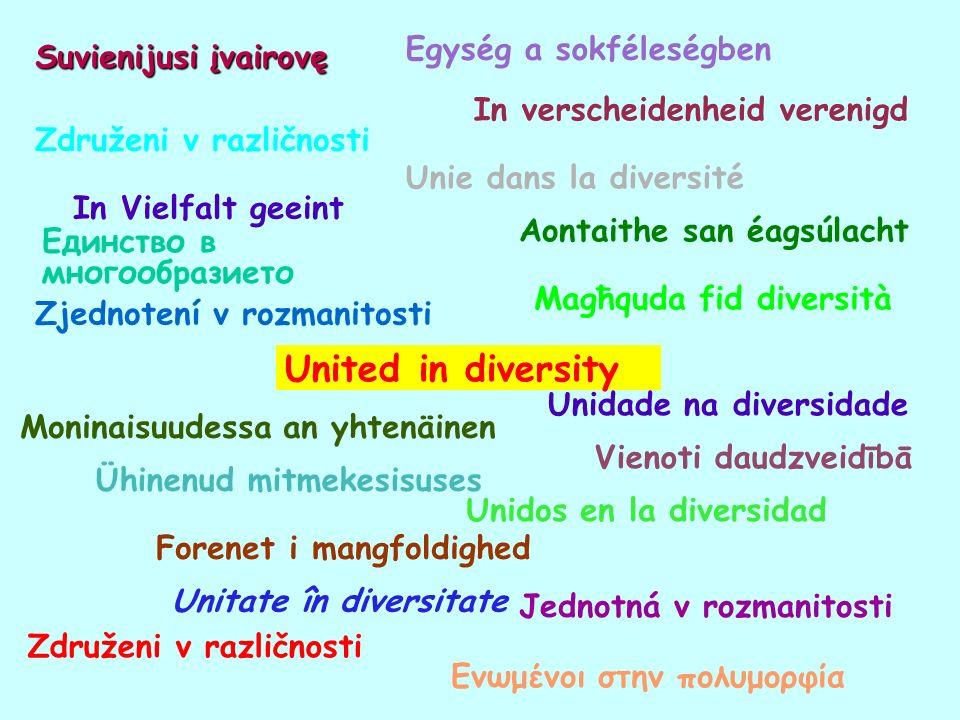 Единство в многообразието Jednotná v rozmanitosti Forenet i mangfoldighed Ενωμένοι στην πολυμορφία In verscheidenheid verenigd United in diversity Ühi