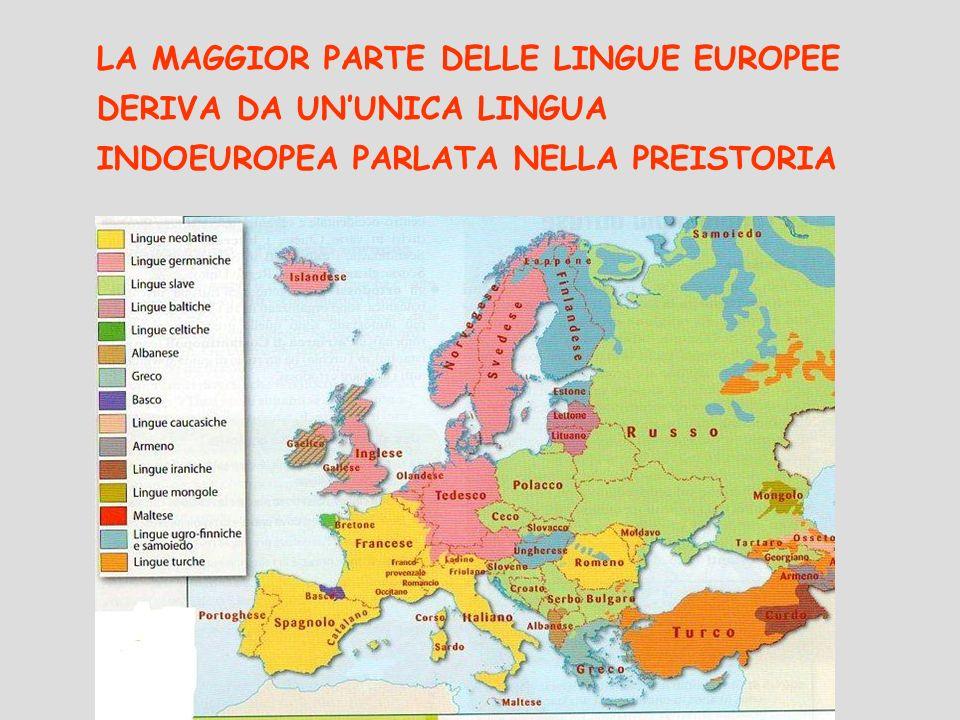 LA MAGGIOR PARTE DELLE LINGUE EUROPEE DERIVA DA UNUNICA LINGUA INDOEUROPEA PARLATA NELLA PREISTORIA