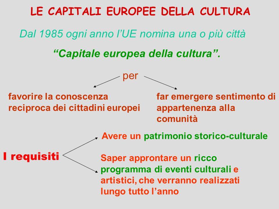 LE CAPITALI EUROPEE DELLA CULTURA I requisiti Dal 1985 ogni anno lUE nomina una o più città Capitale europea della cultura. per favorire la conoscenza
