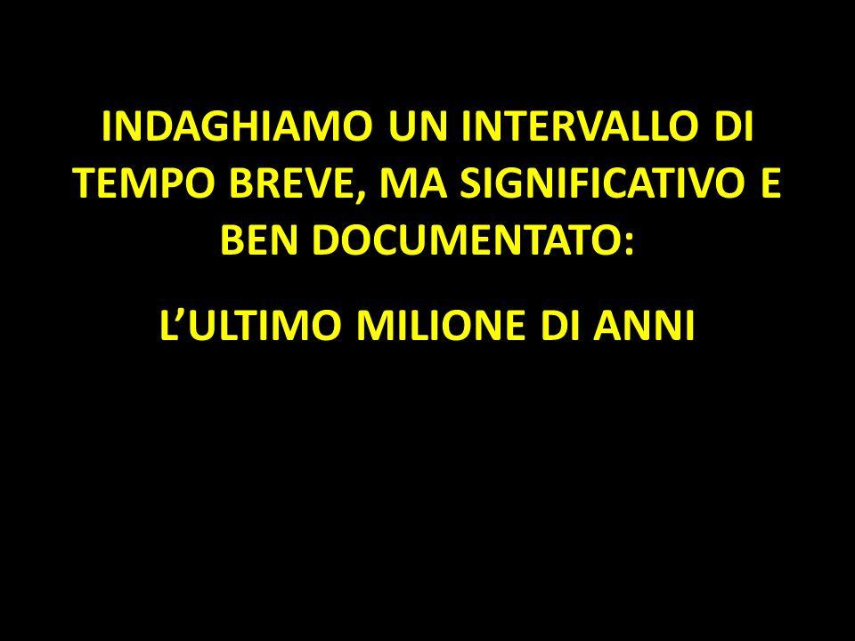 INDAGHIAMO UN INTERVALLO DI TEMPO BREVE, MA SIGNIFICATIVO E BEN DOCUMENTATO: LULTIMO MILIONE DI ANNI