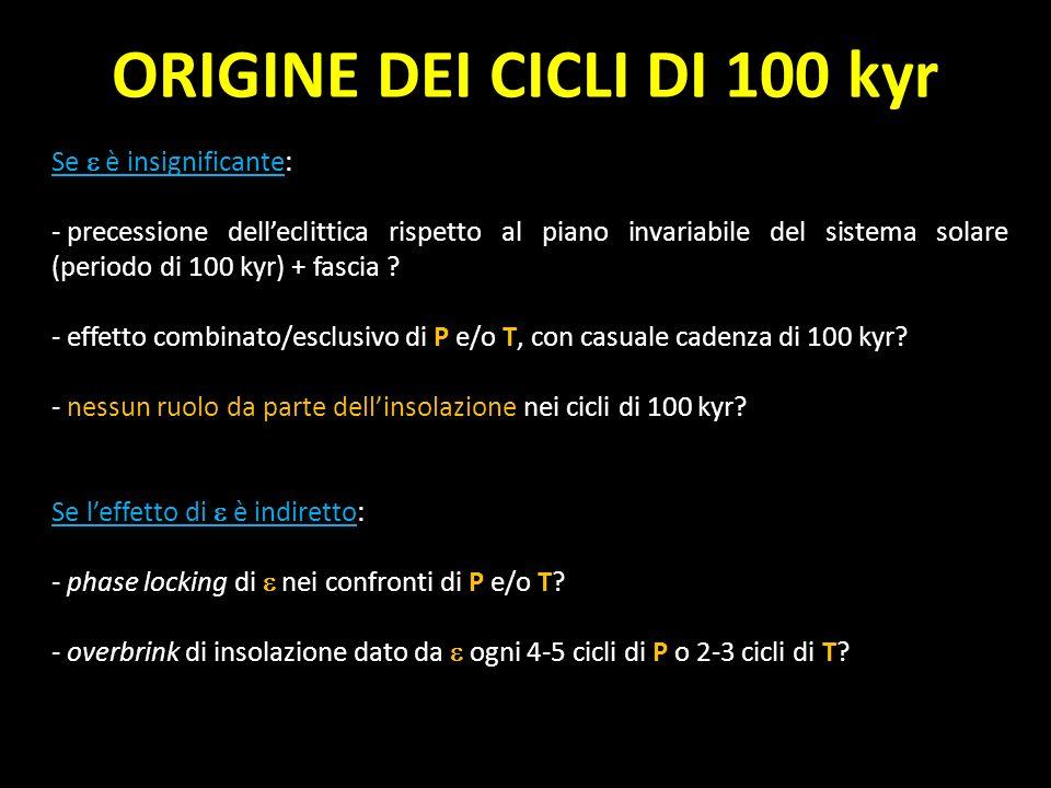 Se è insignificante: - precessione delleclittica rispetto al piano invariabile del sistema solare (periodo di 100 kyr) + fascia ? - effetto combinato/