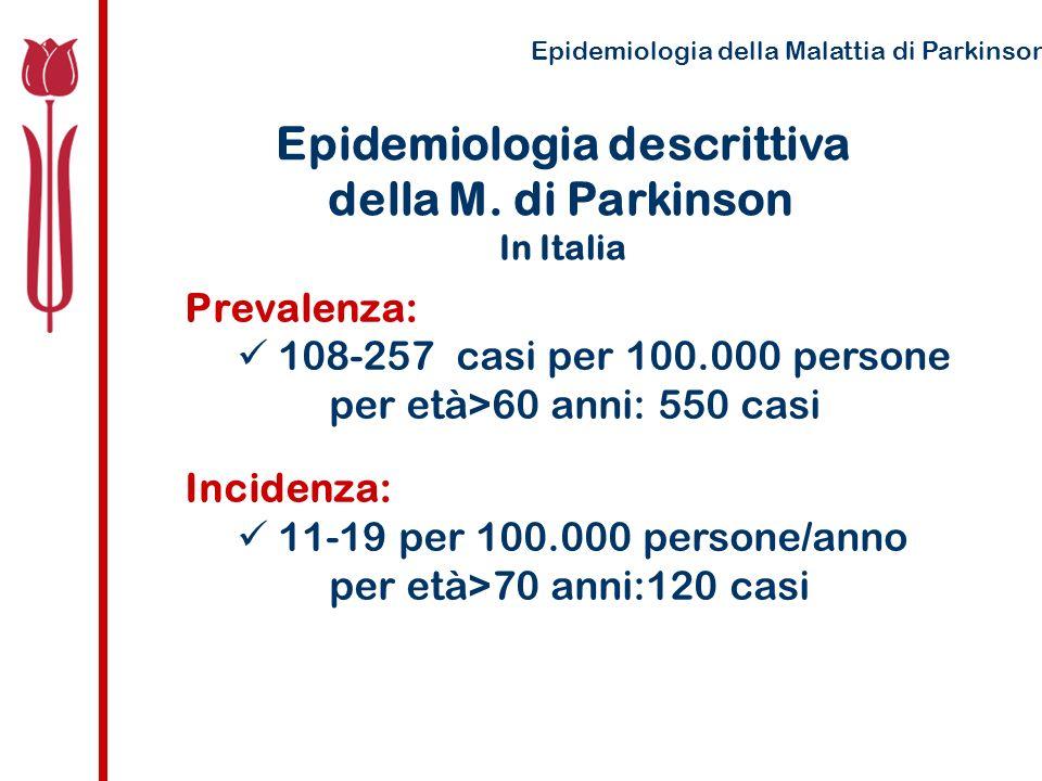 Incidenza della M di Parkinson Laccuratezza della misura e relativamente difficile stadio latente pre-morboso i sintomi sviluppano e progrediscono lentamente i criteri diagnostici possono variare la popolazione varia in rapporto ai medici di riferimento Epidemiologia della Malattia di Parkinson