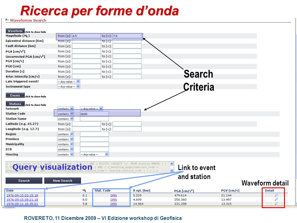 ROVERETO, 11 Dicembre 2009 – VI Edizione workshop di Geofisica Ricerca per forme donda Link to event and station Waveform detail Query visualization Search Criteria