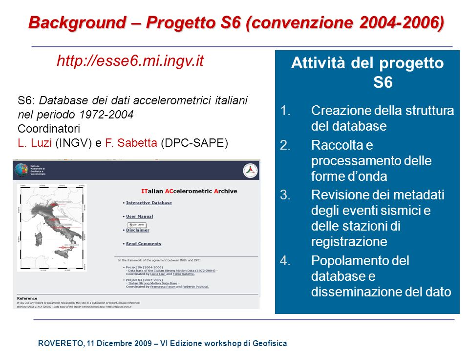 ROVERETO, 11 Dicembre 2009 – VI Edizione workshop di Geofisica http://esse6.mi.ingv.it S6: Database dei dati accelerometrici italiani nel periodo 1972