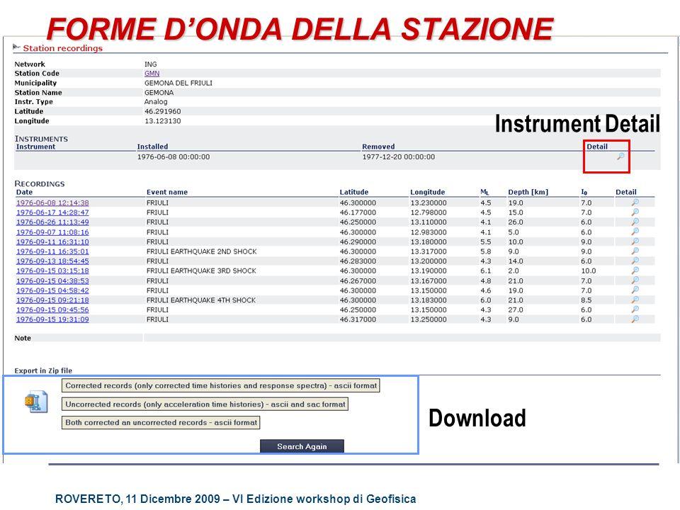 ROVERETO, 11 Dicembre 2009 – VI Edizione workshop di Geofisica FORME DONDA DELLA STAZIONE Instrument Detail Download