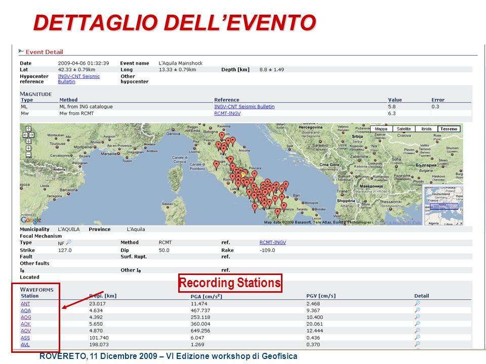 ROVERETO, 11 Dicembre 2009 – VI Edizione workshop di Geofisica DETTAGLIO DELLEVENTO Recording Stations